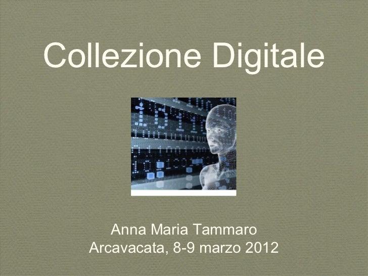 Collezione Digitale      Anna Maria Tammaro   Arcavacata, 8-9 marzo 2012