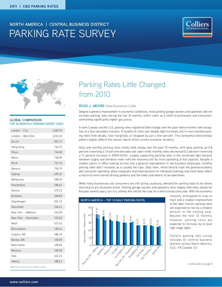 2011 | CBD PARKING RATESNORTH AMERICA | CENTRAL BUSINESS DISTRICTPARKING RATE SURVEY                                      ...