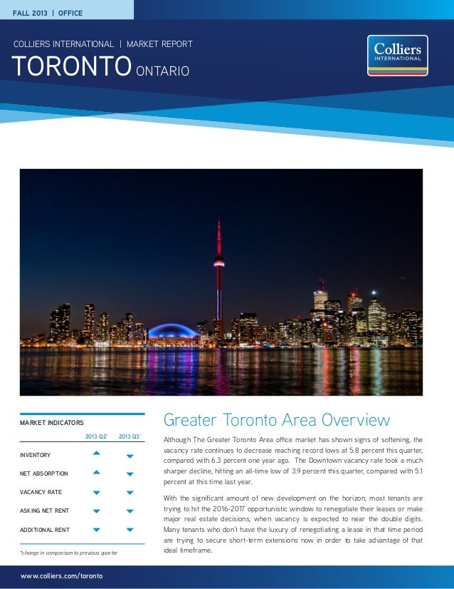 Colliers toronto office leasing market report 2014
