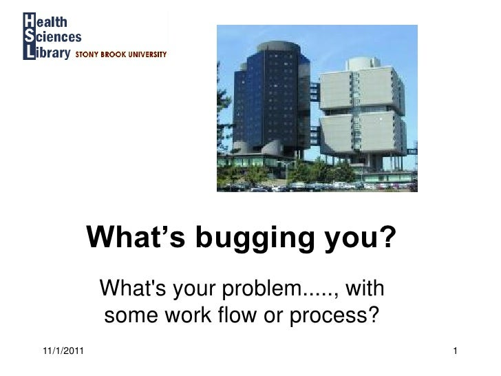 What's bugging you?            Whats your problem....., with            some work flow or process?11/1/2011               ...