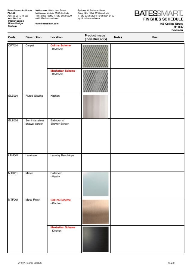 Collins house material specifications for Kitchen design codes