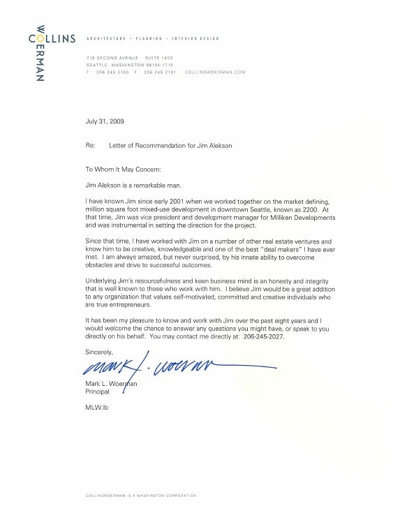 Collins Woerman Architects Letter Of Recommendation