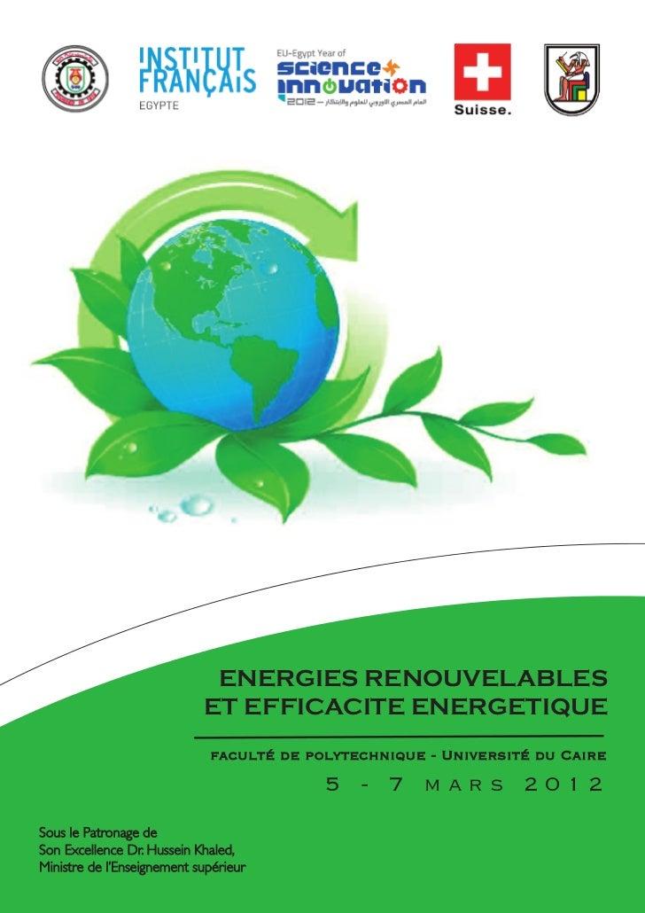 ENERGIES RENOUVELABLES                            ET EFFICACITE ENERGETIQUE                             faculté de polytec...