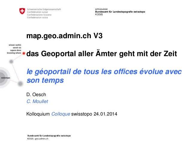 armasuisse Bundesamt für Landestopografie swisstopo KOGIS  map.geo.admin.ch V3  das Geoportal aller Ämter geht mit der Zei...