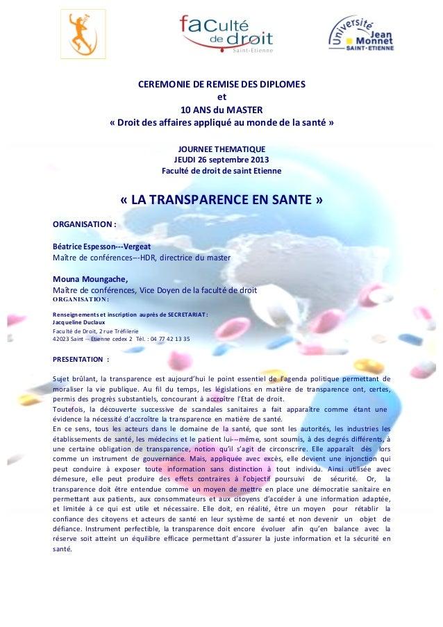 CEREMONIE  DE  REMISE  DES  DIPLOMES   et   10  ANS  du  MASTER   «  Droit  des  affaires  app...