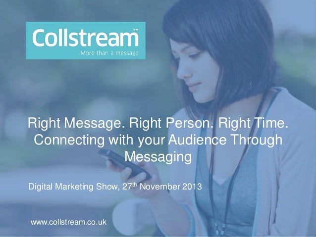 Right Message. Right Person. Right Time. Connecting with your Audience Through Messaging Digital Marketing Show, 27th Nove...