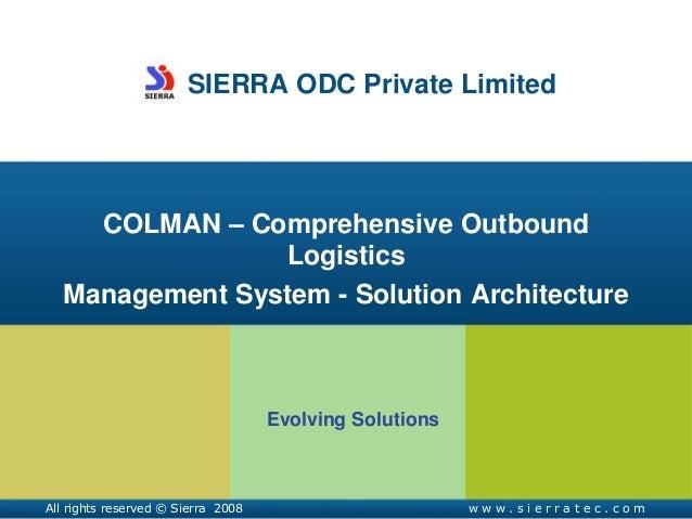 Comprehensive Outbound Logistics Management – COLMAN