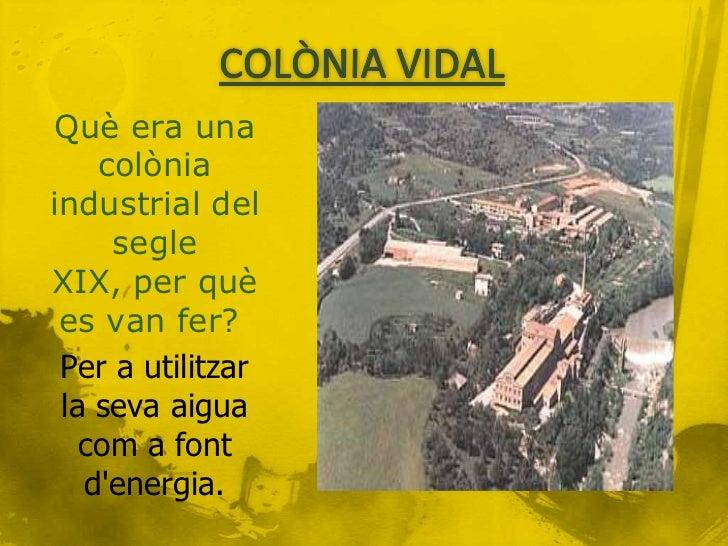 Què era una    colòniaindustrial del     segleXIX, per què es van fer? Per a utilitzar la seva aigua   com a font   denerg...