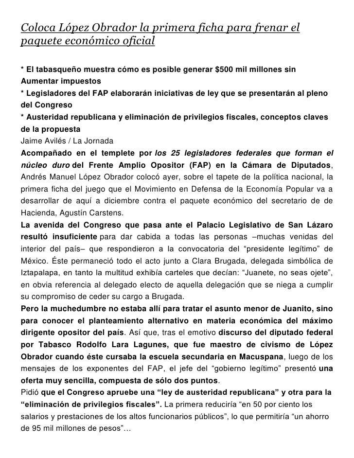 Coloca López Obrador la primera ficha para frenar el paquete económico oficial.docx