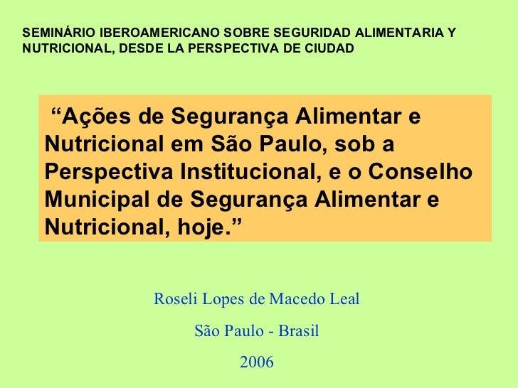 Colombia - Seminário de Segurança Alimentar
