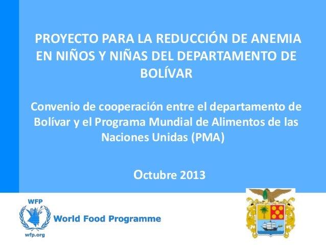 Proyecto para la reducción de anemia en niños y niás del departamento de Bolívar