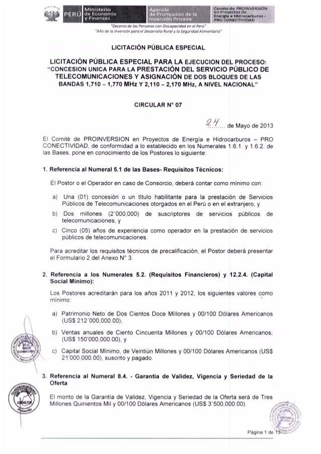 Perú - Requisitos técnicos y financieros para interesados en bloques de espectro AWS