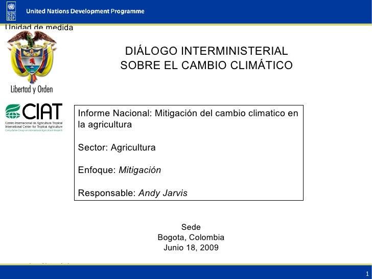 DIÁLOGO INTERMINISTERIAL SOBRE EL CAMBIO CLIMÁTICO Sede Bogota, Colombia Junio 18, 2009 Informe Nacional: Mitigación del c...
