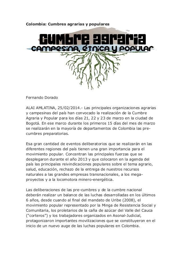 Colombia: Cumbres agrarias, étnicas y populares