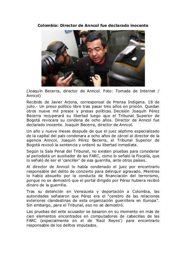 Colombia: Director de Anncol fue declarado inocente