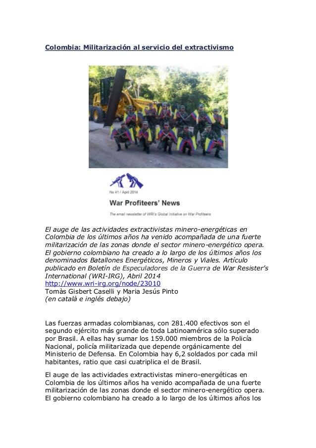 Colombia: Militarización al servicio del extractivismo