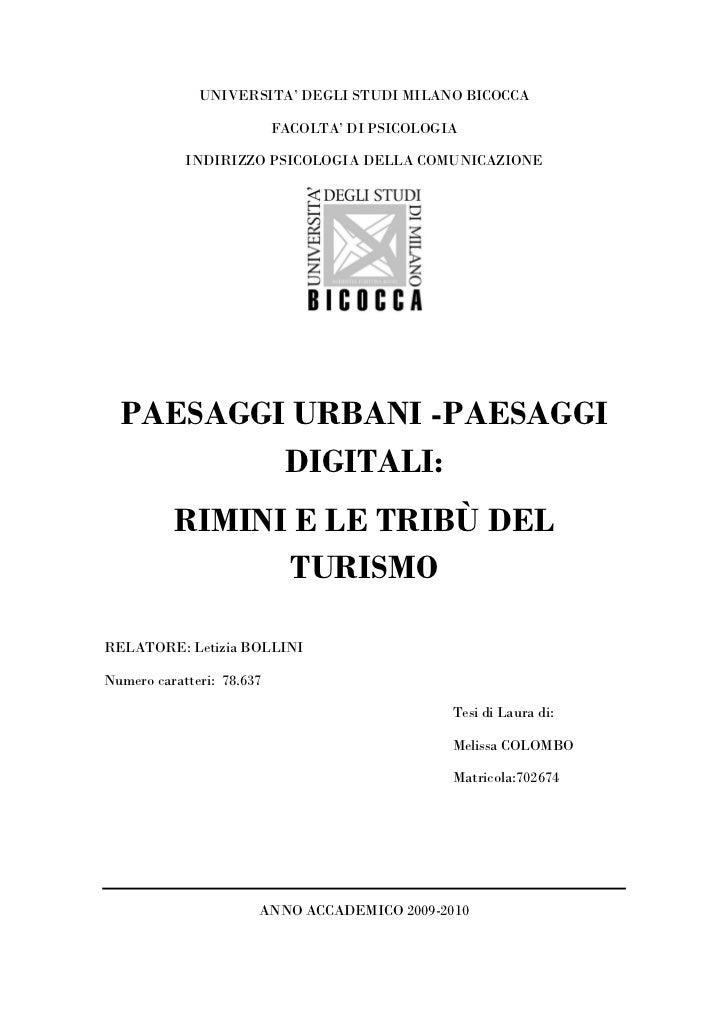 UNIVERSITA' DEGLI STUDI MILANO BICOCCA                           FACOLTA' DI PSICOLOGIA            INDIRIZZO PSICOLOGIA DE...