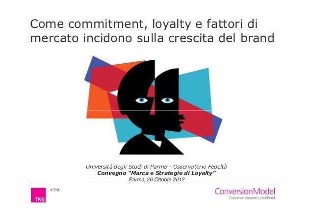 Come commitment, loyalty e fattori dimercato incidono sulla crescita del brand           Università degli Studi di Parma -...