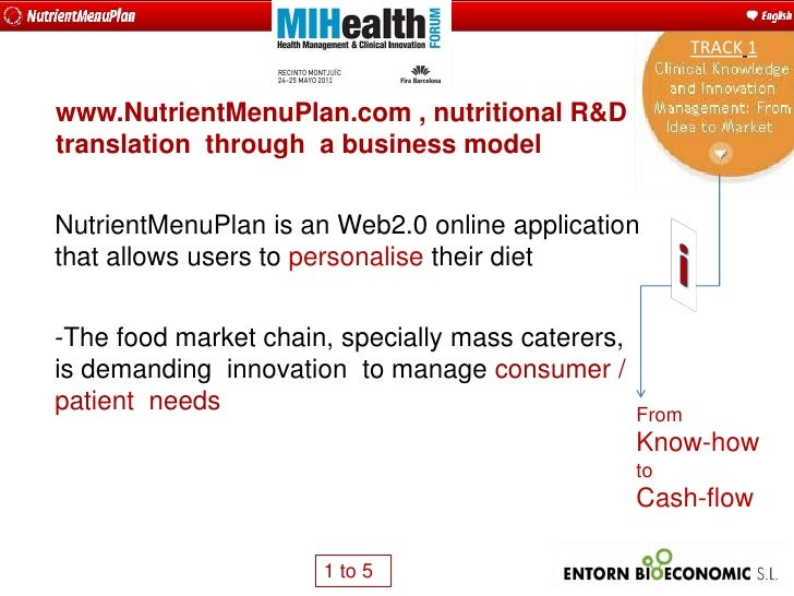 TRACK 1www.NutrientMenuPlan.com , nutritional R&Dtranslation through a business modelNutrientMenuPlan is an Web2.0 online ...