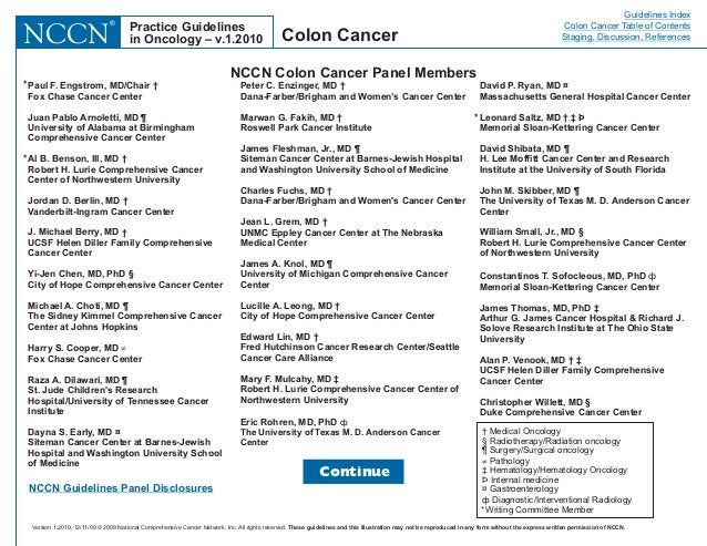 clinical practice guidelines colorectal cancer edcan
