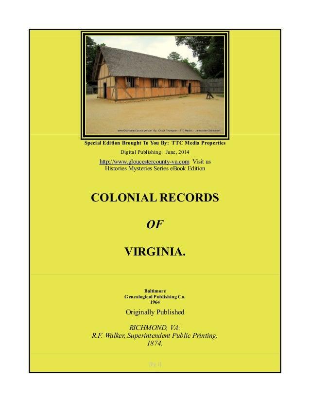 Colonial Records of Virginia, Free eBook