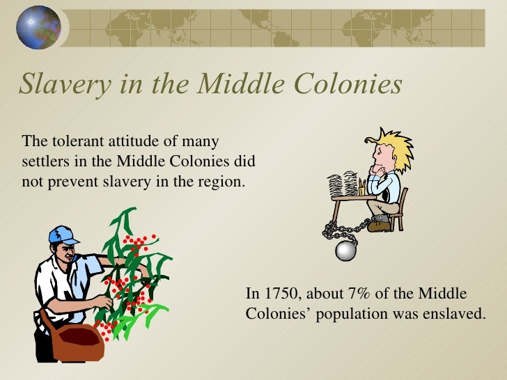 slavery in the middle colonies The southernmost colonies: digital history id 3589 and brought black slaves with them within a decade.