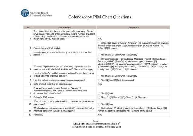 Colonoscopy PIM Chart QuestionsNo.                                 Question Text                                          ...
