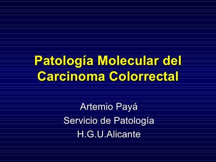 Patología Molecular del Carcinoma Colorrectal Artemio Payá Servicio de Patología H.G.U.Alicante
