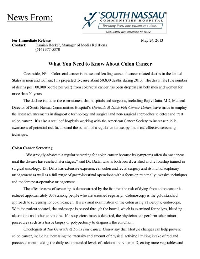 Colon Cancer Information from South Nassau Communities Hospital