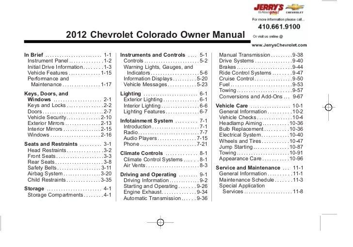 Chevrolet Colorado Owner Manual - 2012                                                                                    ...