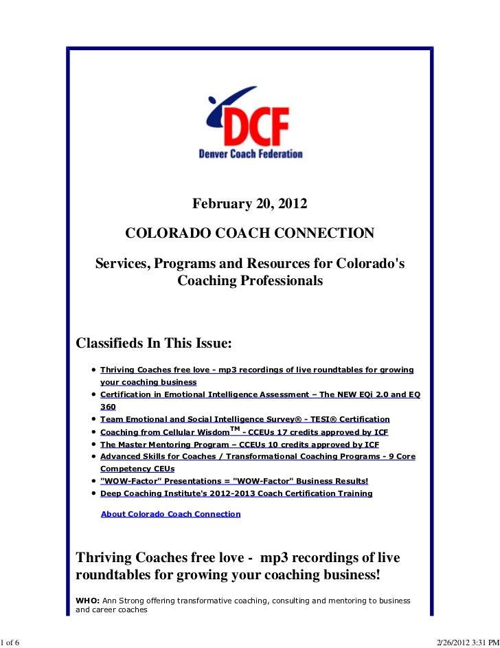 Colorado Coach Connection February 20, 2012