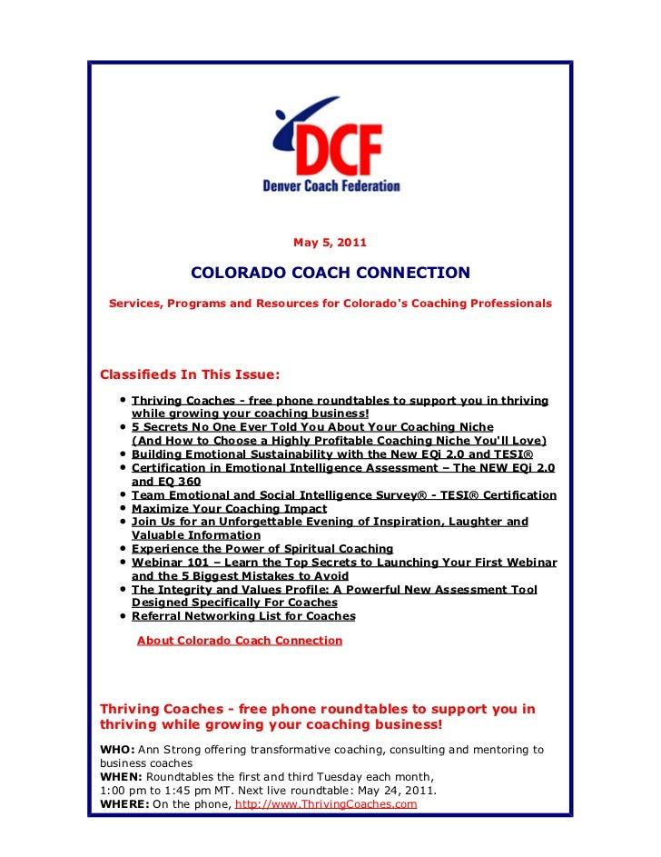 Colorado Coach Connection May 5, 2011