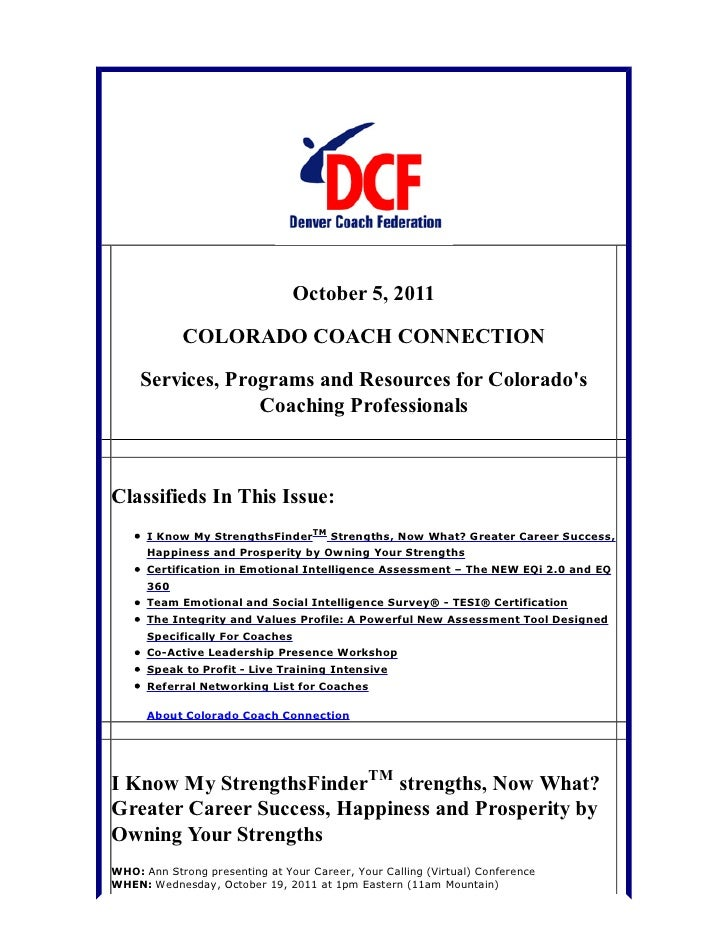 October 5, 2011            COLORADO COACH CONNECTION     Services, Programs and Resources for Colorados                  C...