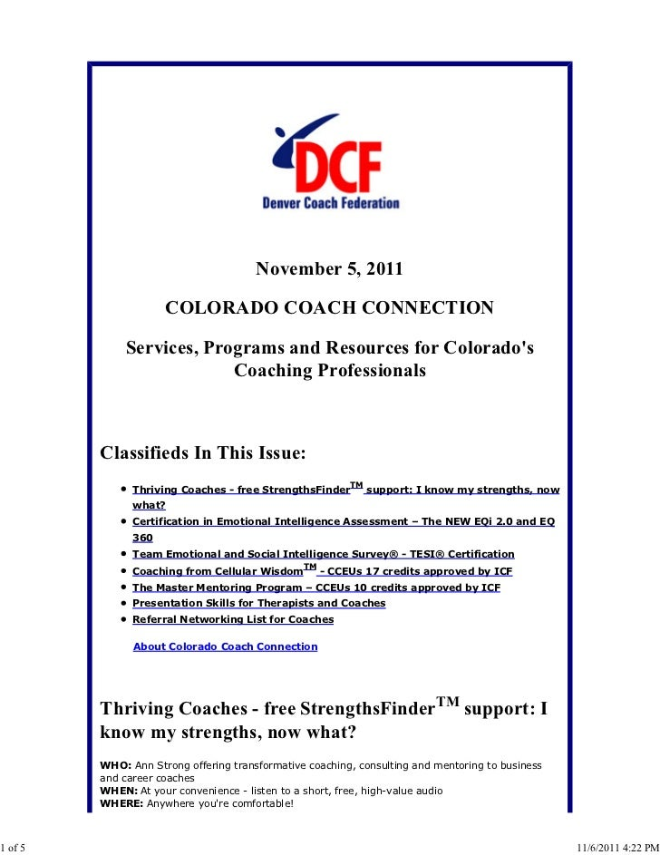 Colorado Coach Connection November 5, 2011