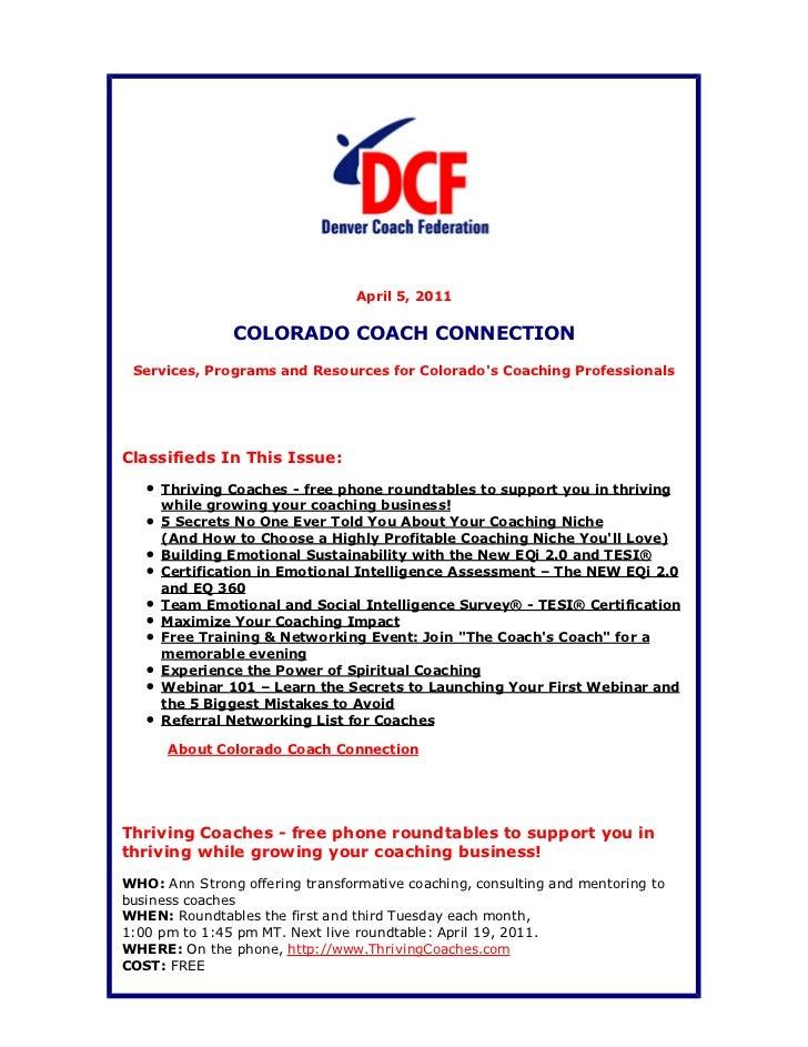 Colorado Coach Connection April 5, 2011