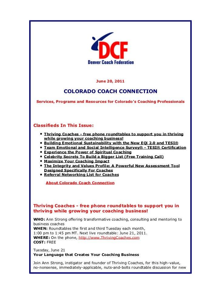 Colorado Coach Connection June 20, 2011