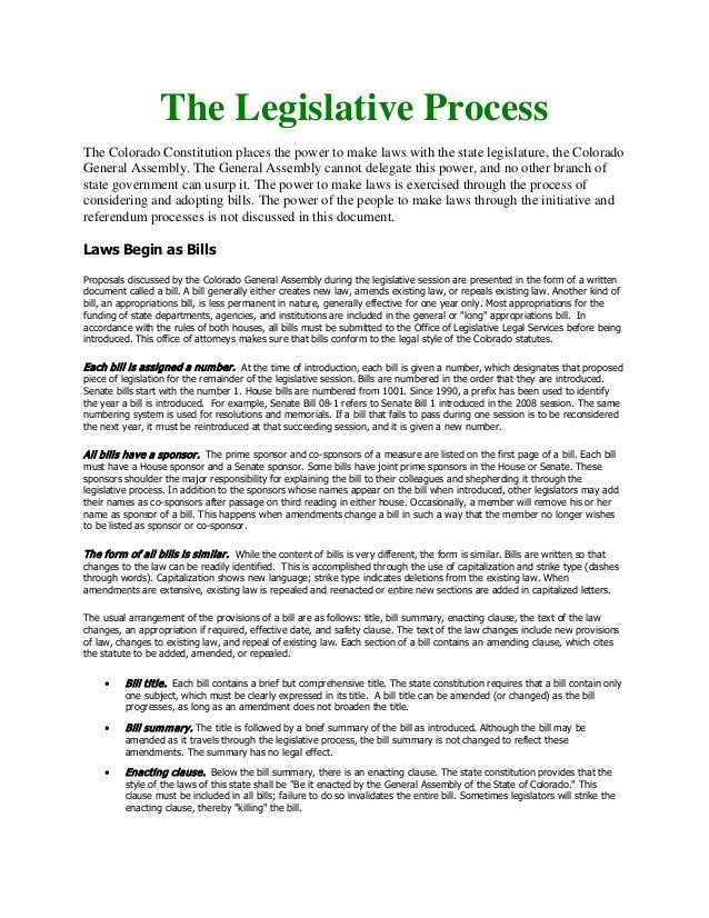 Colorado Legislative Process