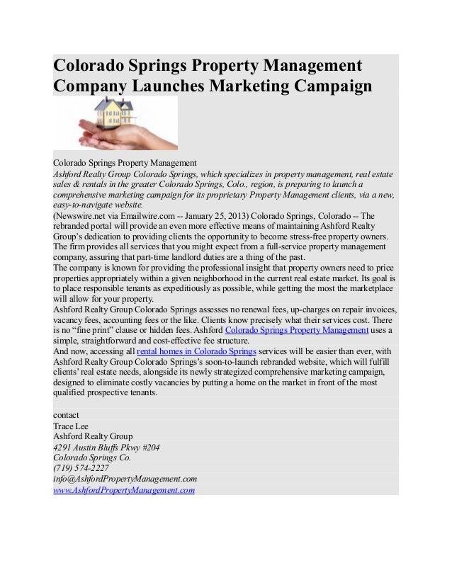 Colorado Springs Property ManagementCompany Launches Marketing CampaignColorado Springs Property ManagementAshford Realty ...