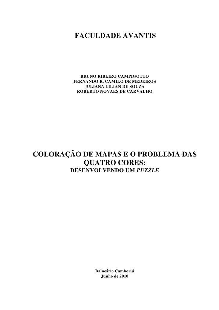 ColoraçãO De Mapas E O Problema Das Quatro Cores   Desenvolvendo Um Puzzle