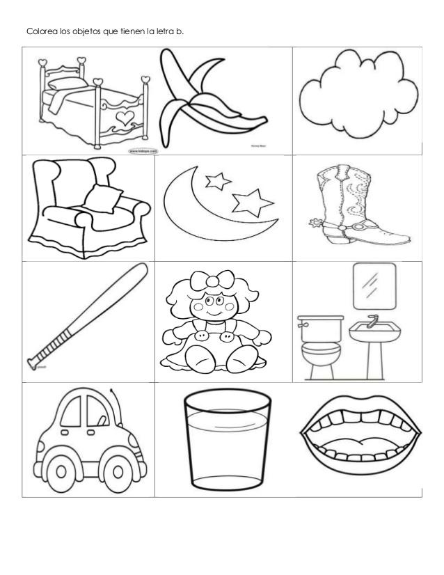 Colorea los objetos que tienen la letra b