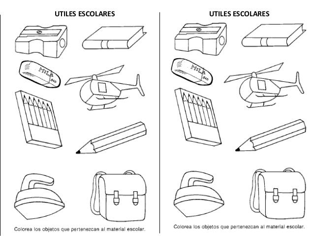 Utiles escolares para colorear en fichas - Imagui