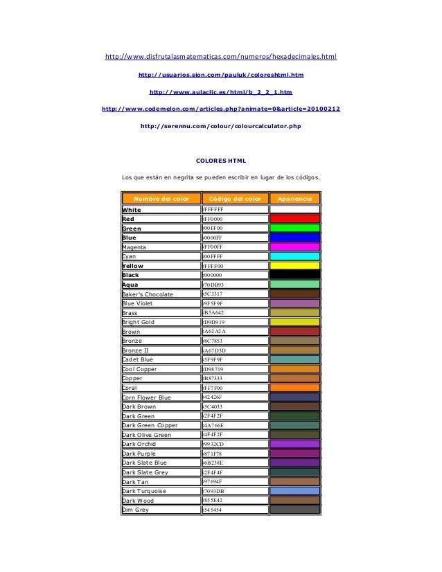 http://www.disfrutalasmatematicas.com/numeros/hexadecimales.html http://usuarios.sion.com/pauluk/coloreshtml.htm http://ww...