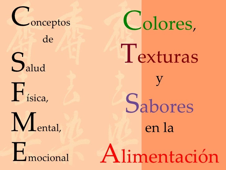 C   onceptos     Colores,      deSalud                 Texturas                    yFísica,                 SaboresM    en...