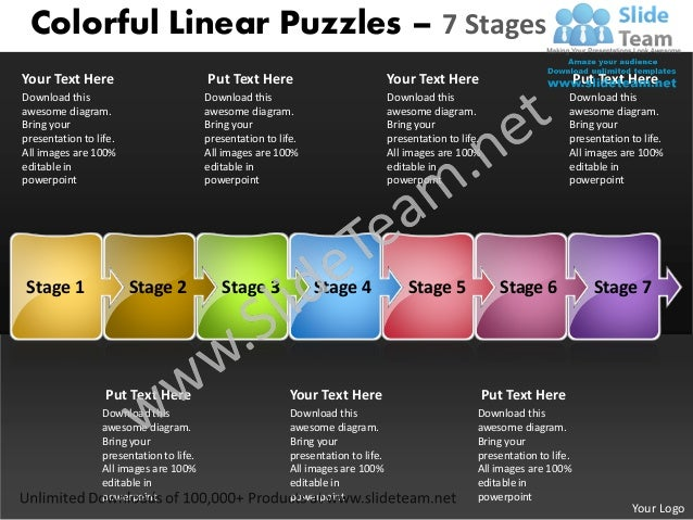 Colorful linear puzzles 7 stages what is business plan power point slides