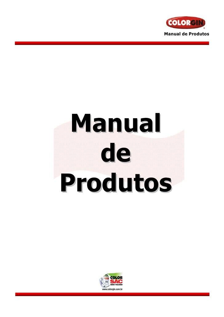 Manual de Produtos Manual   deProdutos