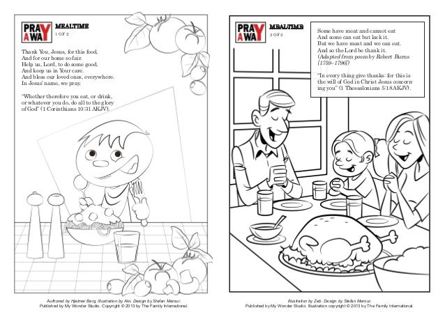 Coloring Page Pray Away Mealtime