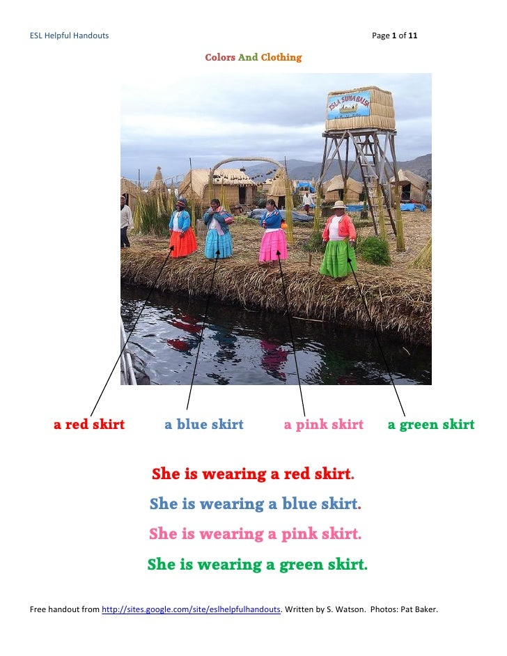 Colors And Clothing-ESL Helpful Handouts