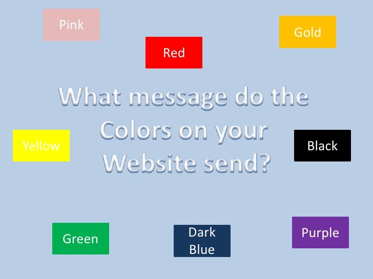 Pink<br />Gold<br />Red<br />What message do the <br />Colors on your <br />Website send?<br />Yellow<br />Black<br />Purp...
