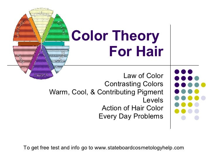 Color Theory  For Hair Law of Color Contrasting Colors Warm, Cool, & Contributing Pigment Levels Action of Hair Color Ever...
