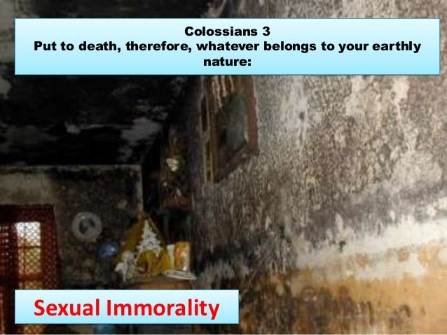Colossians 3 Put to death, therefore, whatever belongs to your earthly nature: Sexual Immorality